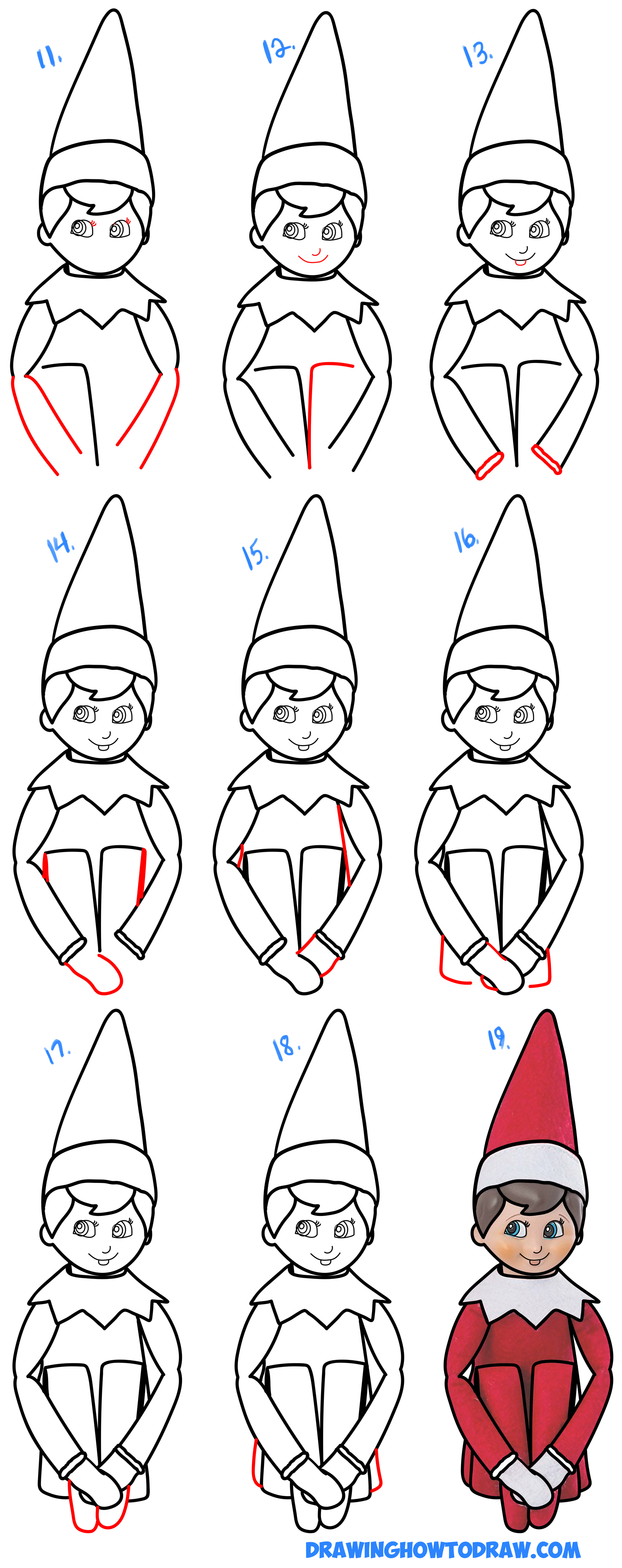 1600x4031 How To Draw The Elf On The Shelf Easy Step By Step Drawing
