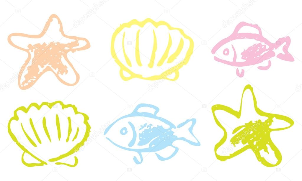 1023x614 Fish And Shellfish. Hand Drawing. Stock Vector Spline X