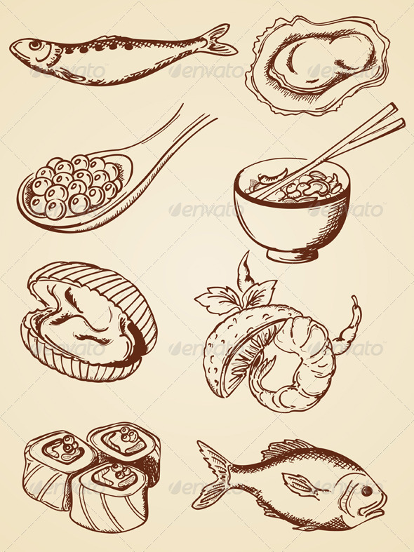 590x787 Hand Drawn Vintage Seafood Hand Drawn, Drawings And Illustrations