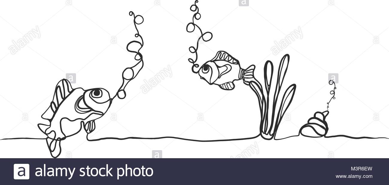 1300x621 Hand Drawing Of Fishes And Shellfish Breathing Oxygen Underwater