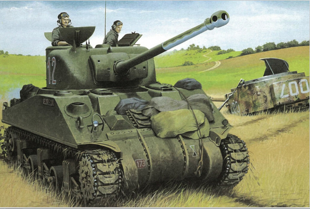 640x431 M4a1 (76) W American Tank With Sherman Tank Crews Ww2 Drawing Tank