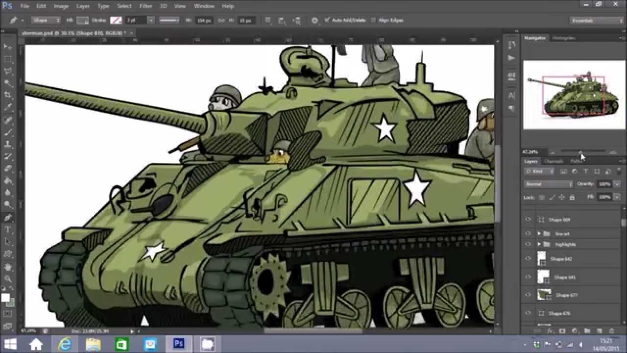 1280x720 Sherman Tank Speed Drawing