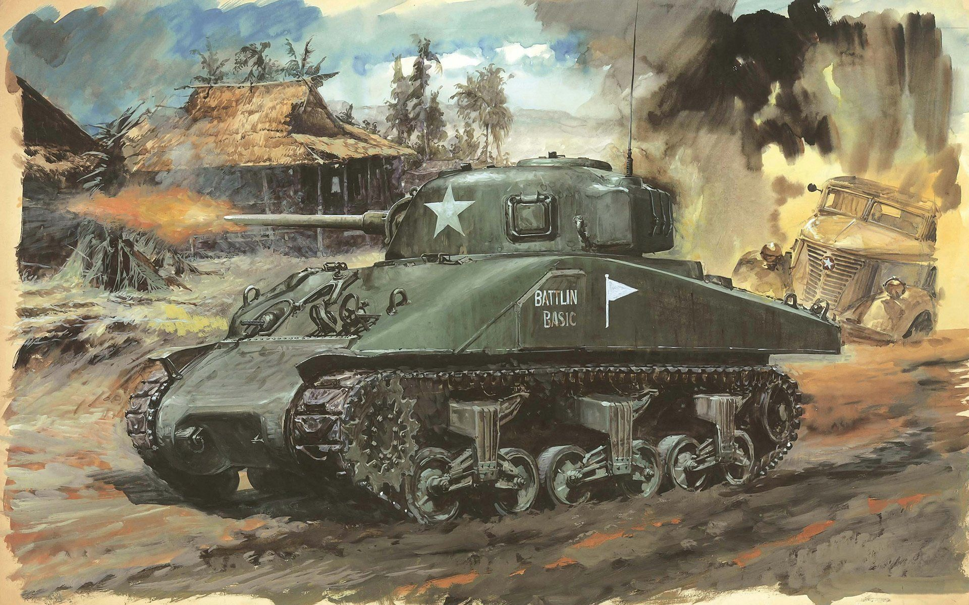 1920x1200 Art Picture Strokes Pencils Tank Sherman M4a1 Main American Medium