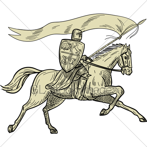 500x500 Knight Riding Horse Shield Lance Flag Drawing Gl Stock Images