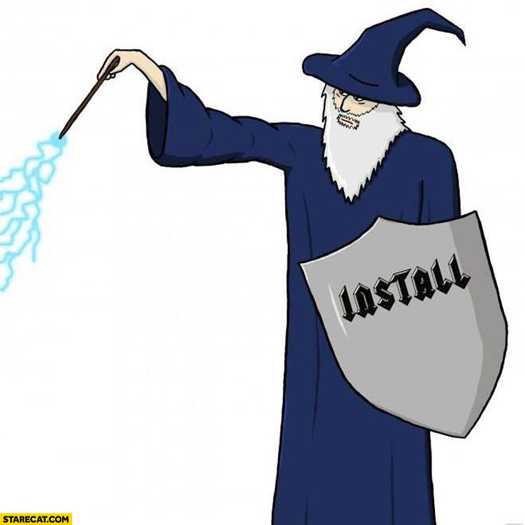735x735 Wizard With Install Shield Drawing