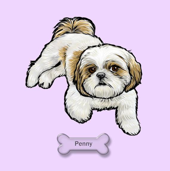 570x573 Digital Custom Dog Portrait Custom Pet By Thestarduststudio Shih