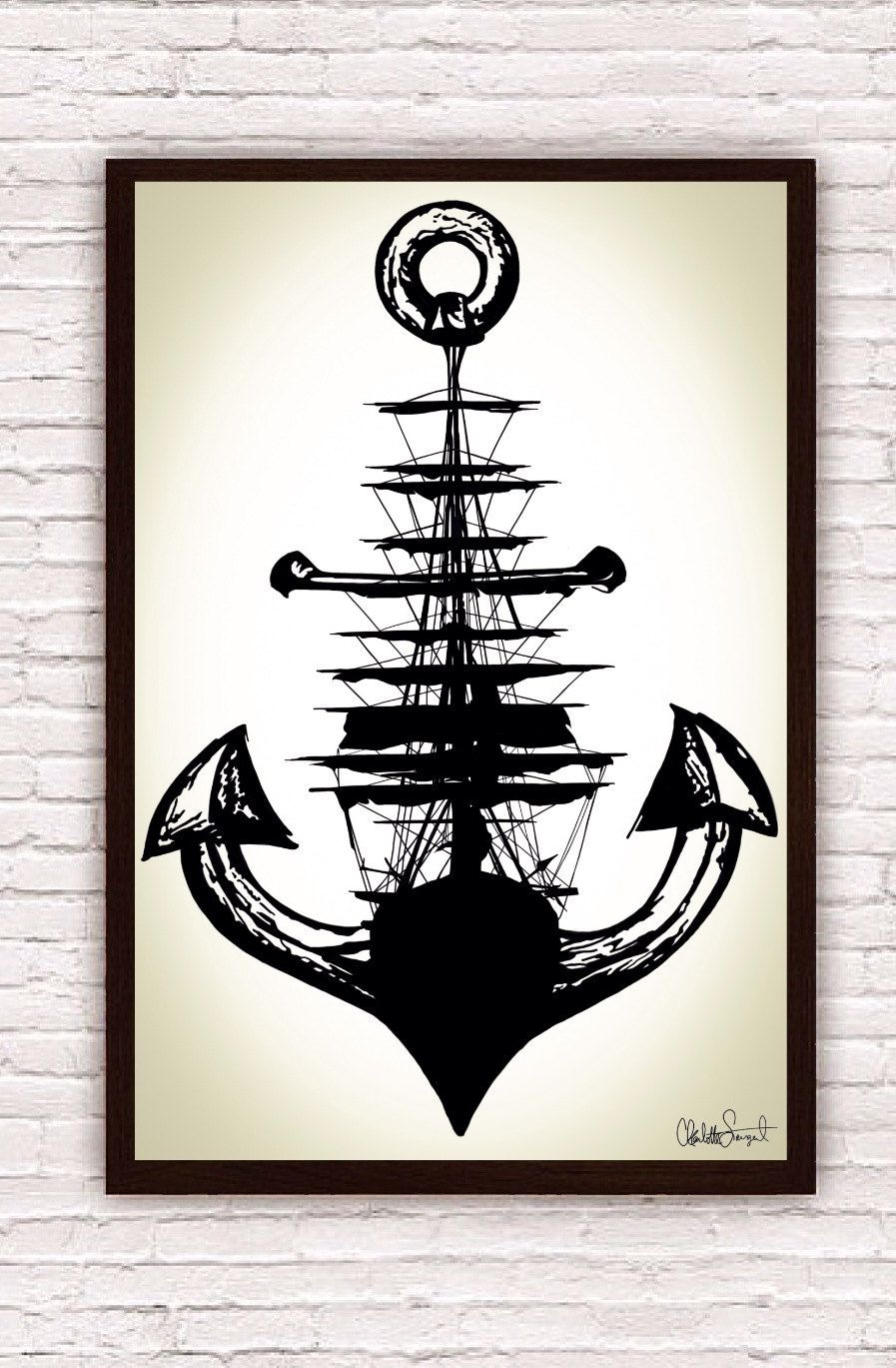 897x1369 Sailing Ship + Anchor Poster Print Nautical Wall Art Home