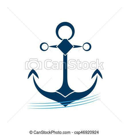 450x470 Ship Anchor On Blue Waves Vector Icon. Vector Illustration