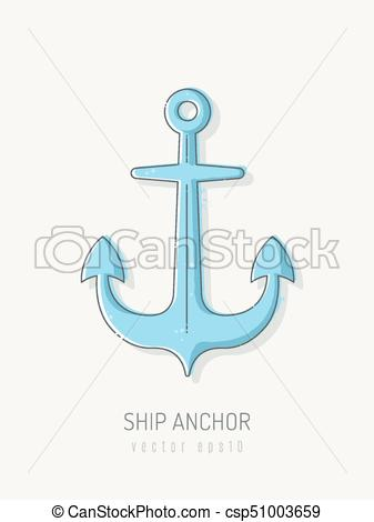 337x470 Ship Anchor Vector Illustration In Scribble Line Art Style