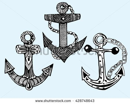 450x362 Stylized Anchor. Ship Anchor. Line Art. Black And White Drawing By