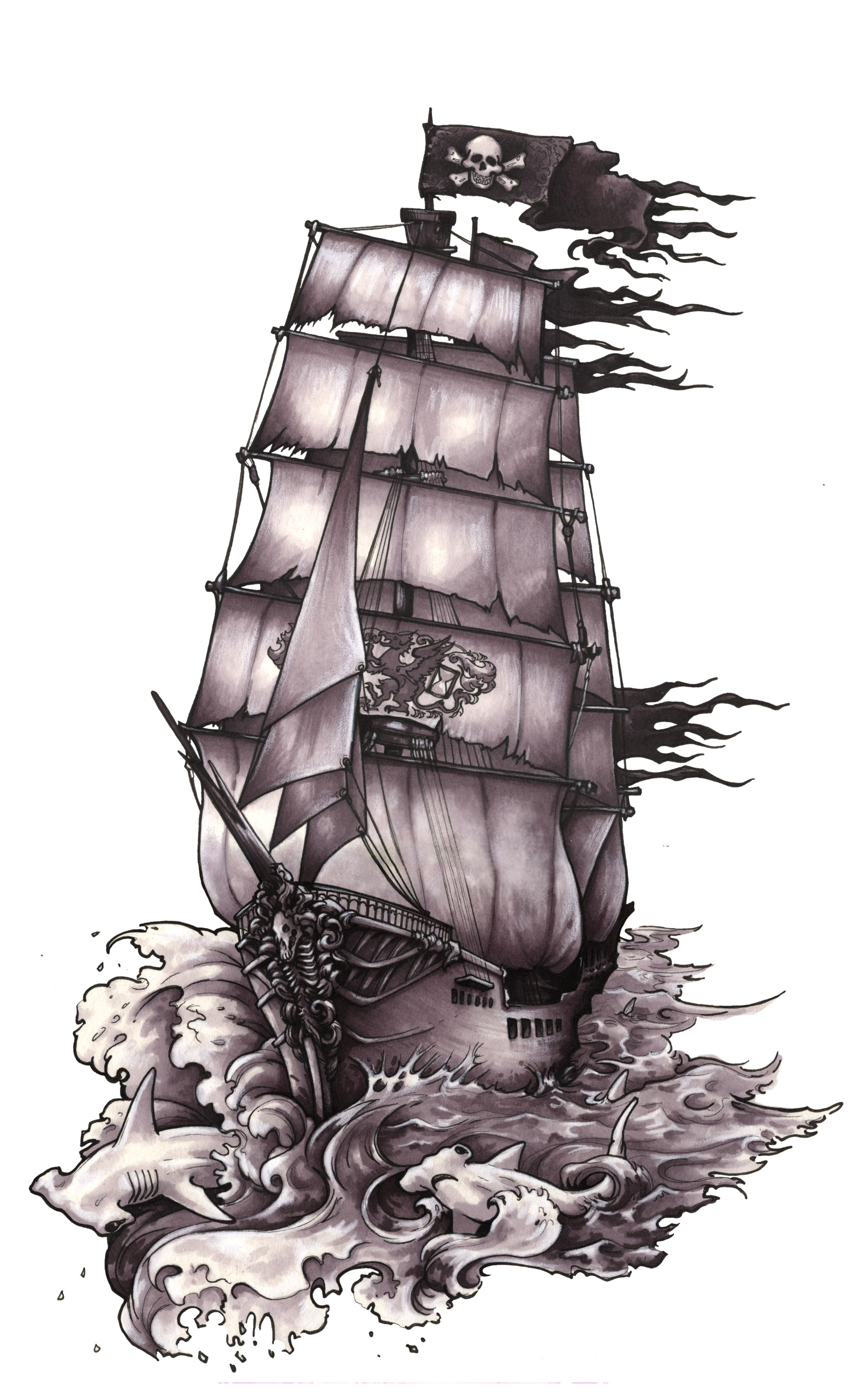 1699x2750 Old Pirate Ship Drawing Pirate Ship Tattoos