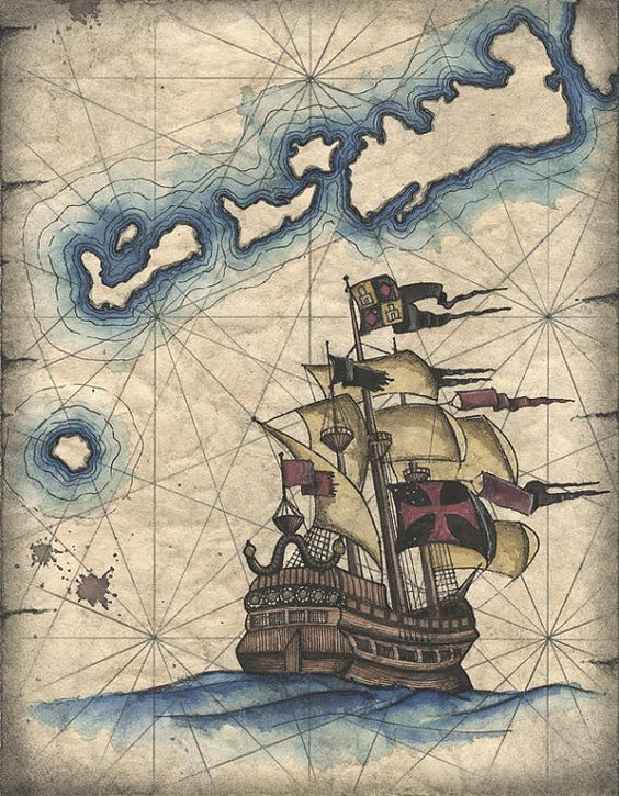 564x725 Spanish Galleon Art Print Pirate Ship Drawing, Vintage Ship