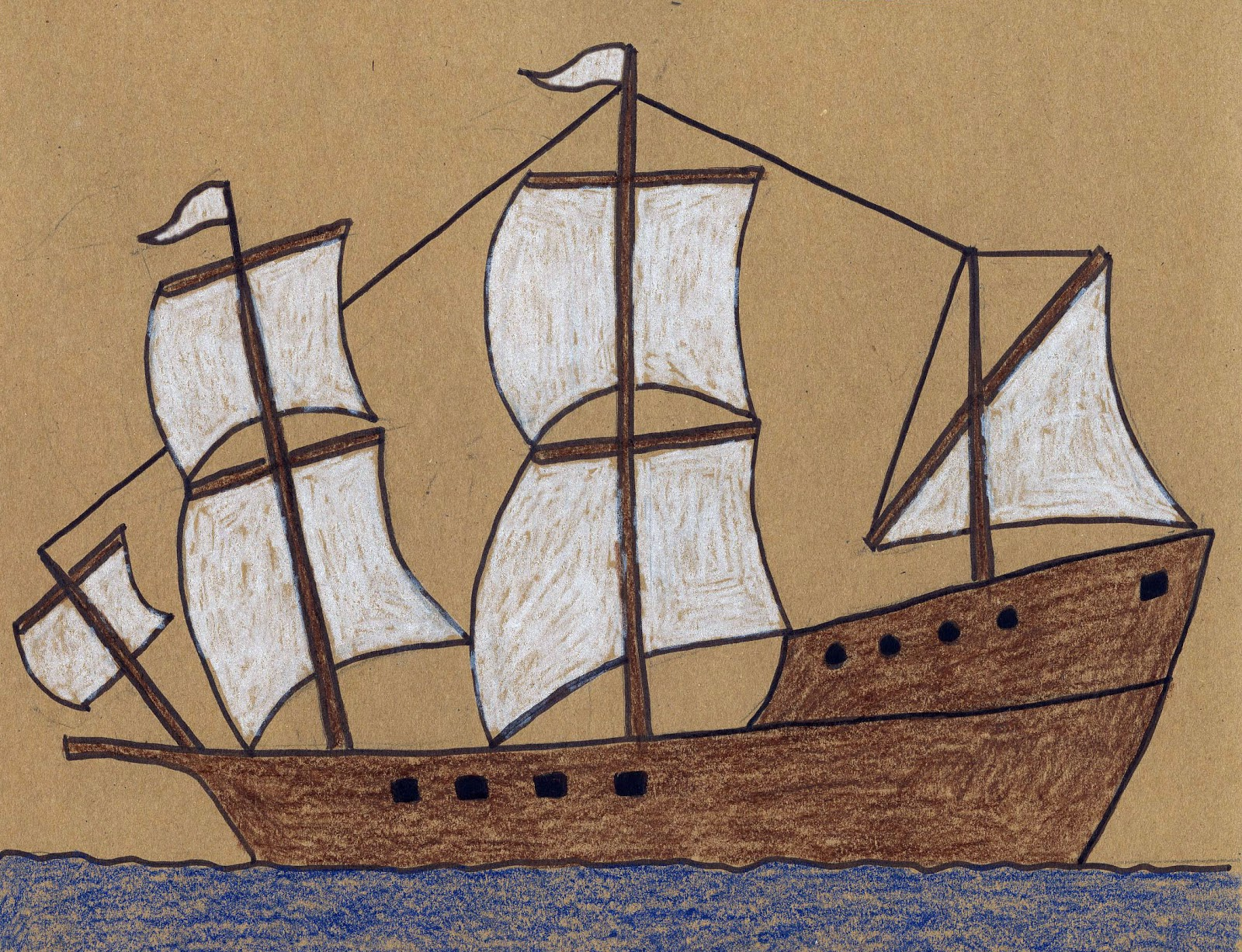 1600x1227 How To Draw The Mayflower Easy, Thanksgiving And Homeschool