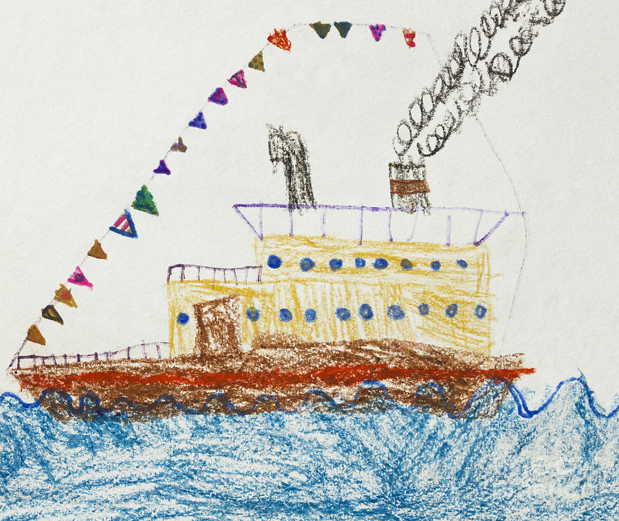 900x757 Kid's Drawing Of A Passenger Ship In The Sea Drawing By Kiril Stanchev