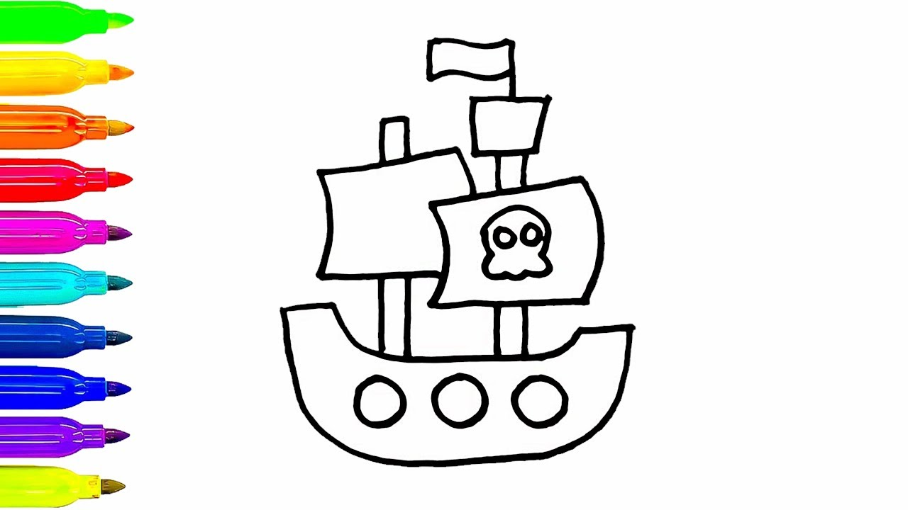 1280x720 Pirate Ship Drawing For Kids How To Color For Children