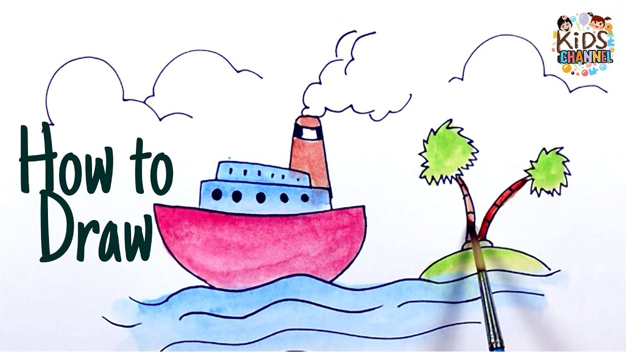 1280x720 Cruise Ship Drawing Easy Cruise Ship Drawing For Kids Step