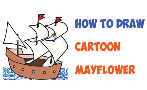500x306 How To Draw Cartoon Mayflower Ship For Thanksgiving Easy Step By