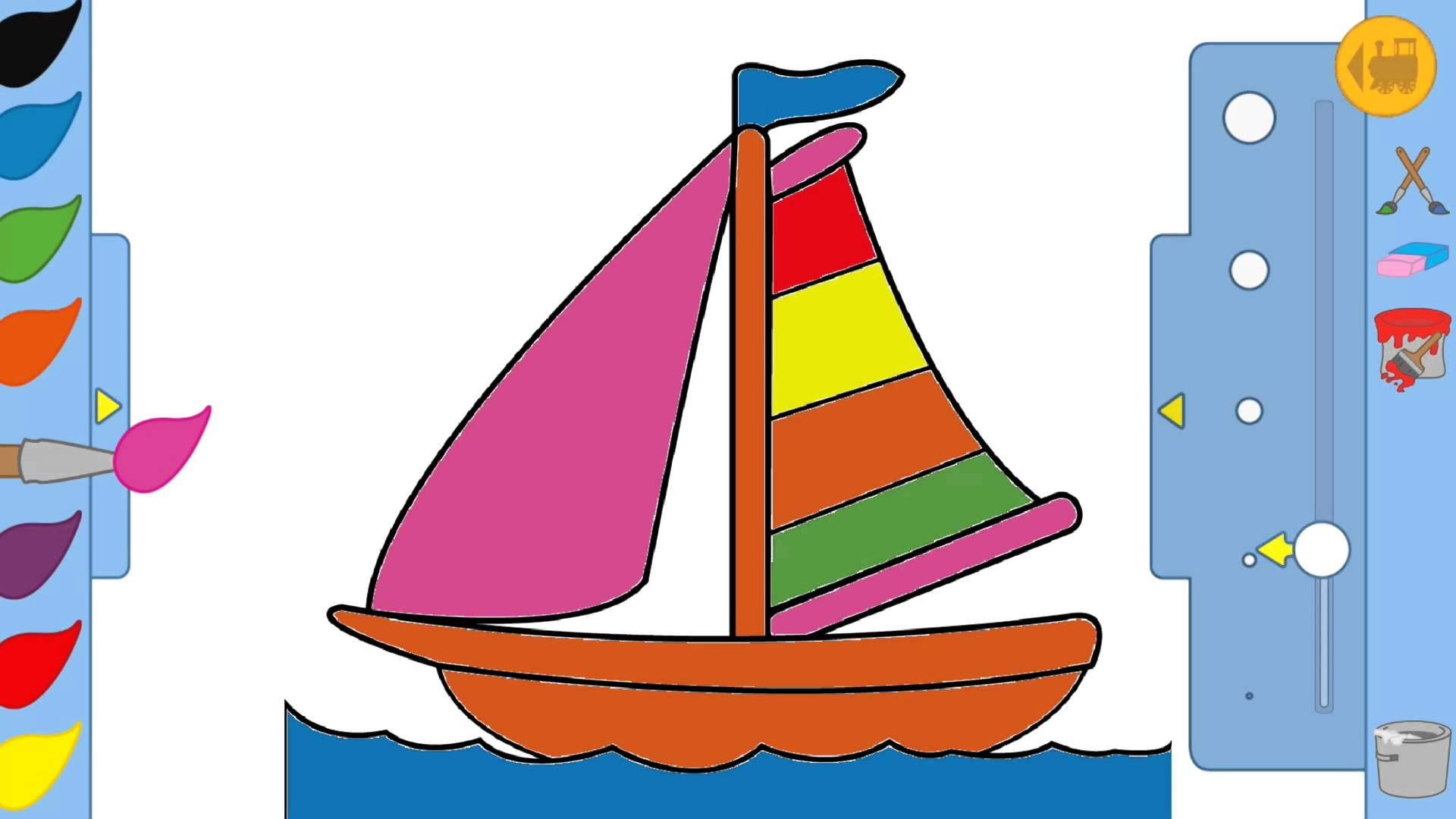 1920x1080 Kids Drawing Game Boat Youtube Inside Boat Drawing For Kids