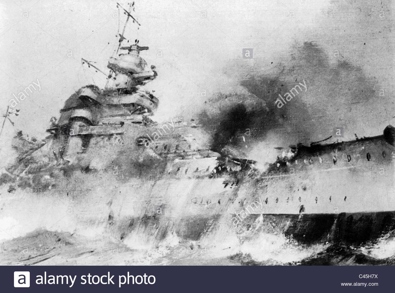 1300x965 Drawing Of The Sinking Battleship