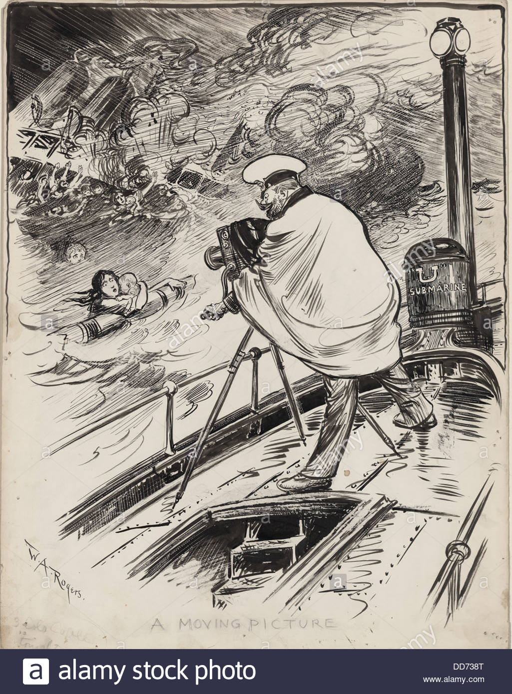 1025x1390 German Ww1 Submarine Commander Filming Sinking Ship And Drowning