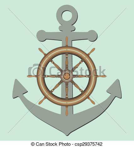 427x470 Anchor And Ship Steering Wheel On Blue Eps Vector