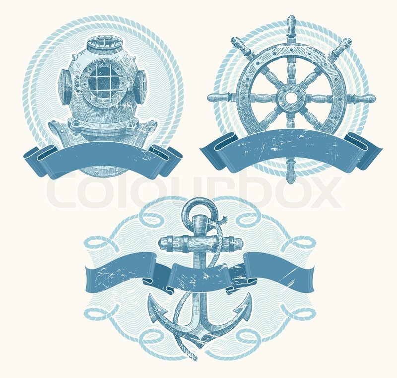 800x760 Nautical Vector Emblems With Hand Drawn Elements