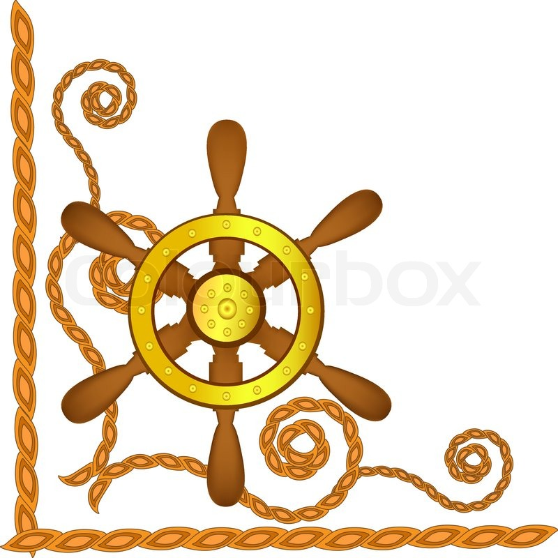 800x800 Ship Steering Wheel And Flags On A Blue Background Stock Vector
