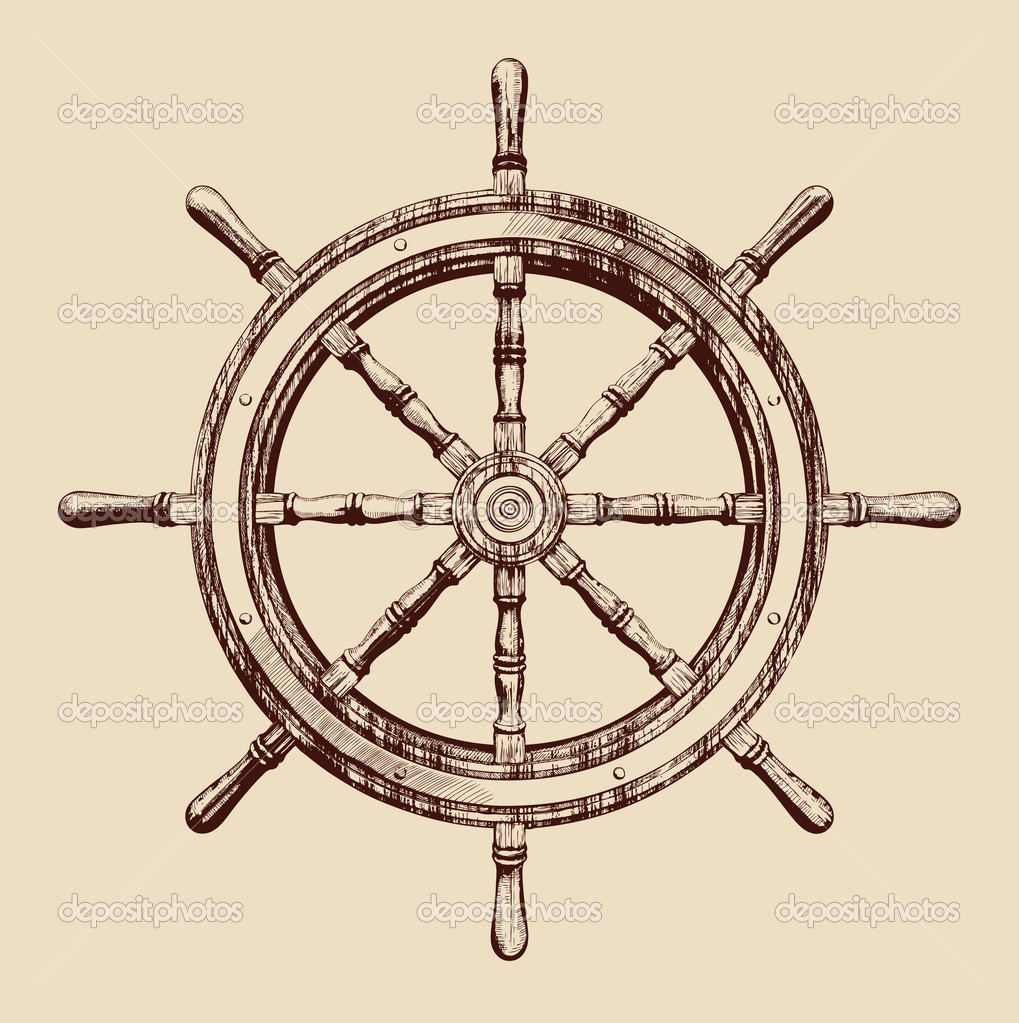 1019x1023 Vintage Ship Wheel Drawing Ship Steering Wheel Vintage Ocean