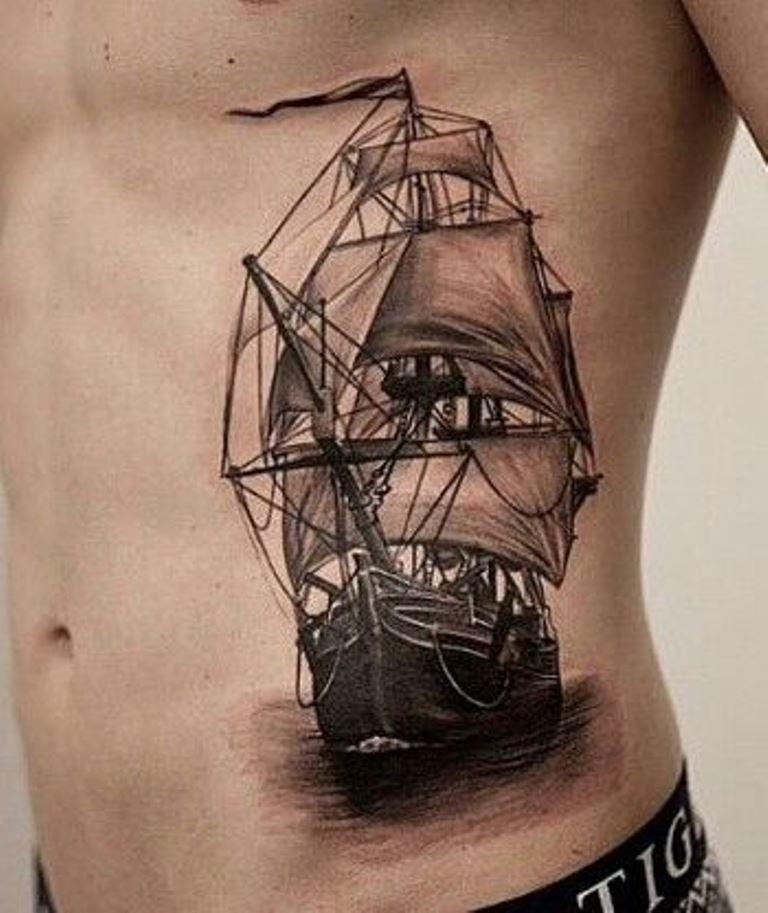 Sailing Ship Tattoo Design
