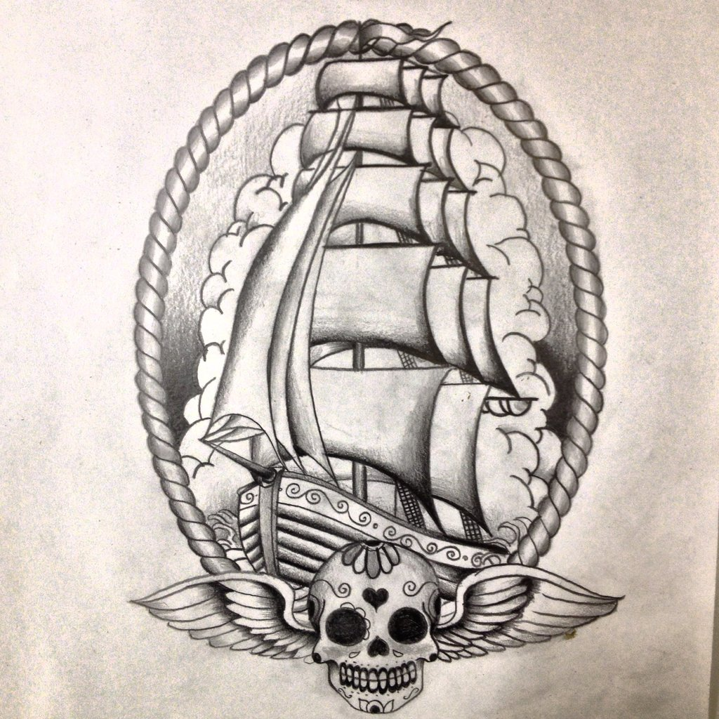 Ship Tattoo Drawing at GetDrawingscom Free for personal use Ship