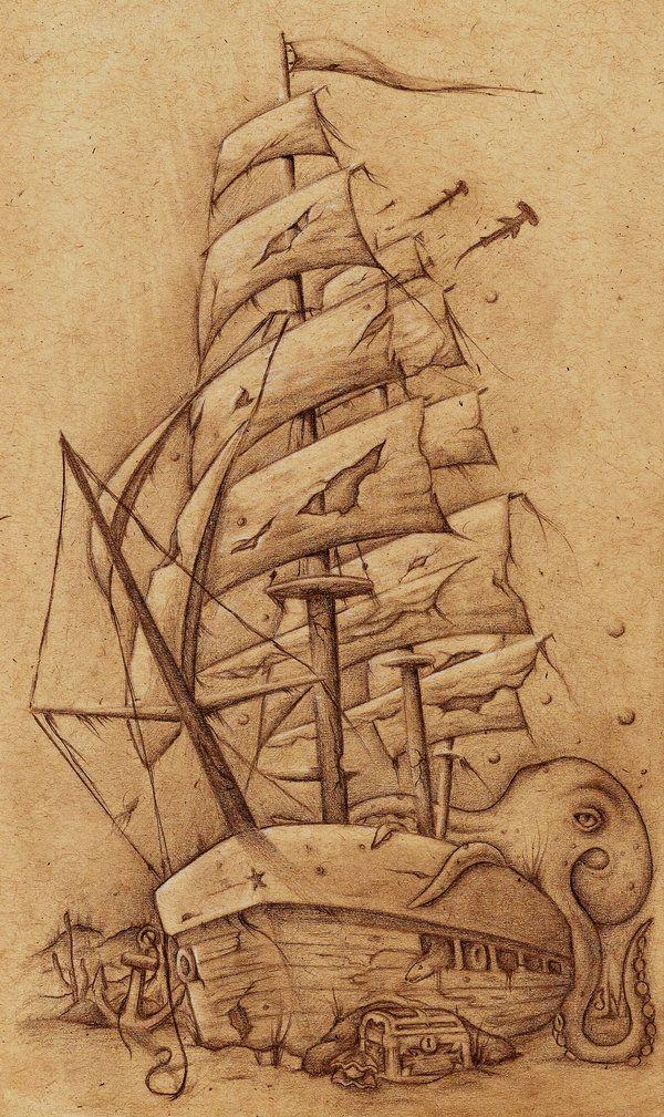 600x1009 7 Best Sunken Ship Drawing Images On Shark Tattoos