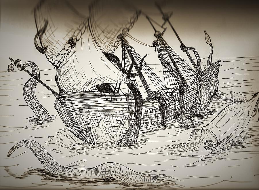 900x660 Ship Wreck Drawing By Shane Silva