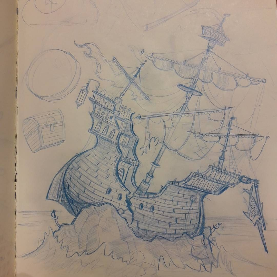 1080x1080 Regram @andy Estra Shipwreck Sketch. Can'T Draw Anything Today