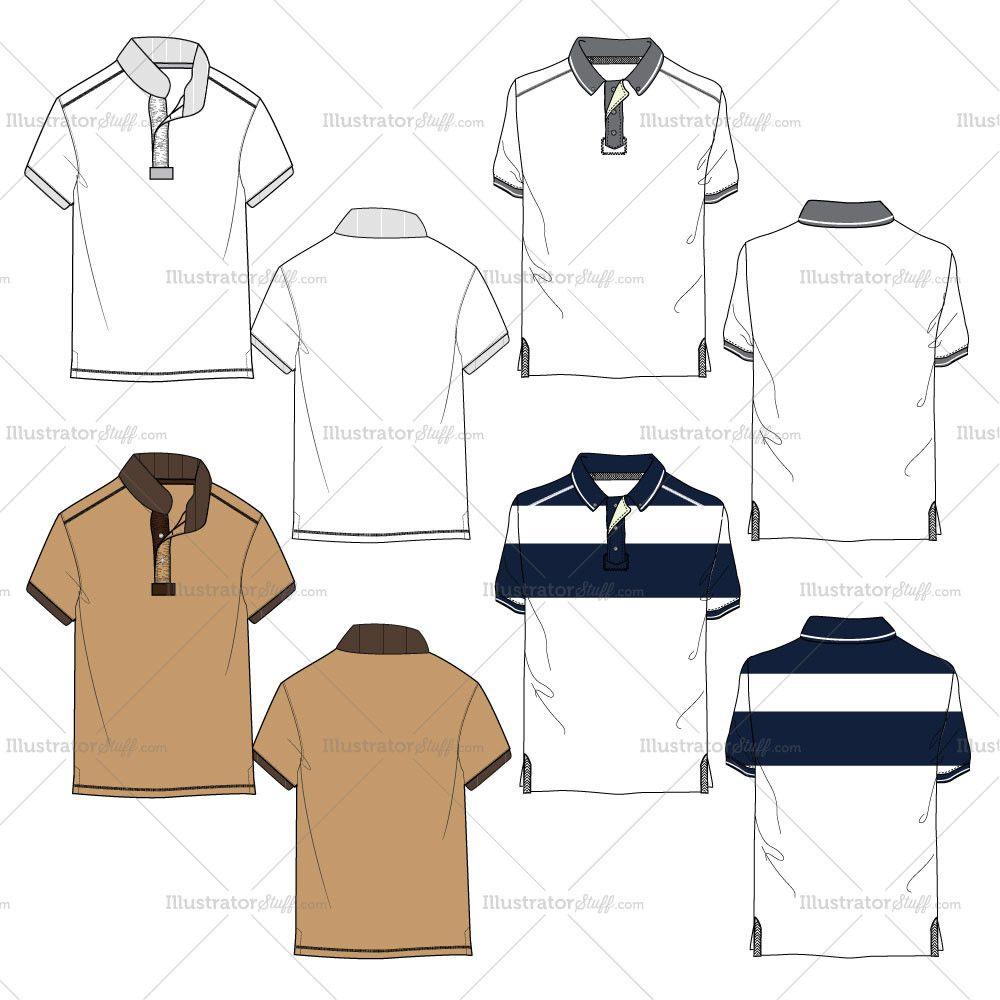 1000x1000 Men's Polo Shirt Fashion Flat Templates Fashion Flats, Polo