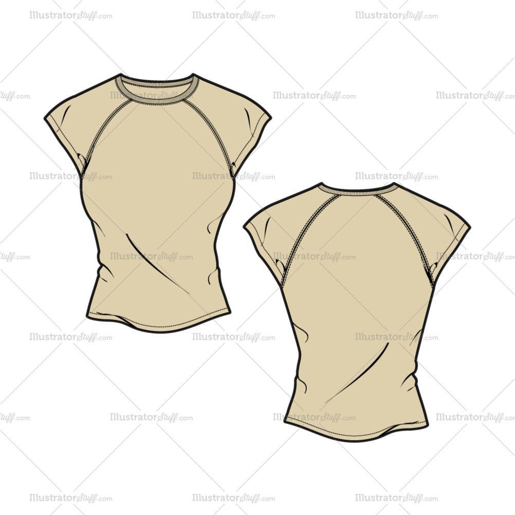 1002x1001 Women's Cap Sleeve Tee Fashion Flat Template Illustrator Stuff