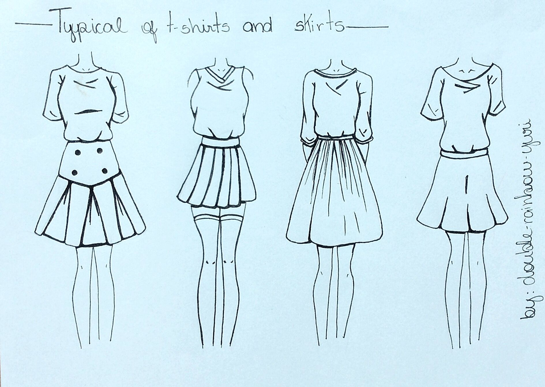 1890x1341 How To Draw Skirts(2) And T Shirts Drawing Drawings