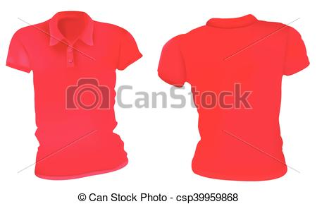 450x289 Women Red Polo Shirts Template. Vector Illustration Of Blank