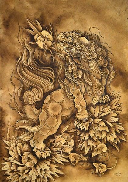 421x600 Lion And His Attendants By Clark North Shisa Dog Canvas Fine Art
