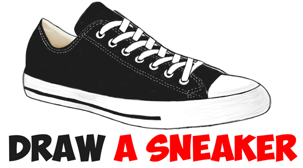 600x334 How To Draw Sneakers Shoes With Easy Step By Step Drawing