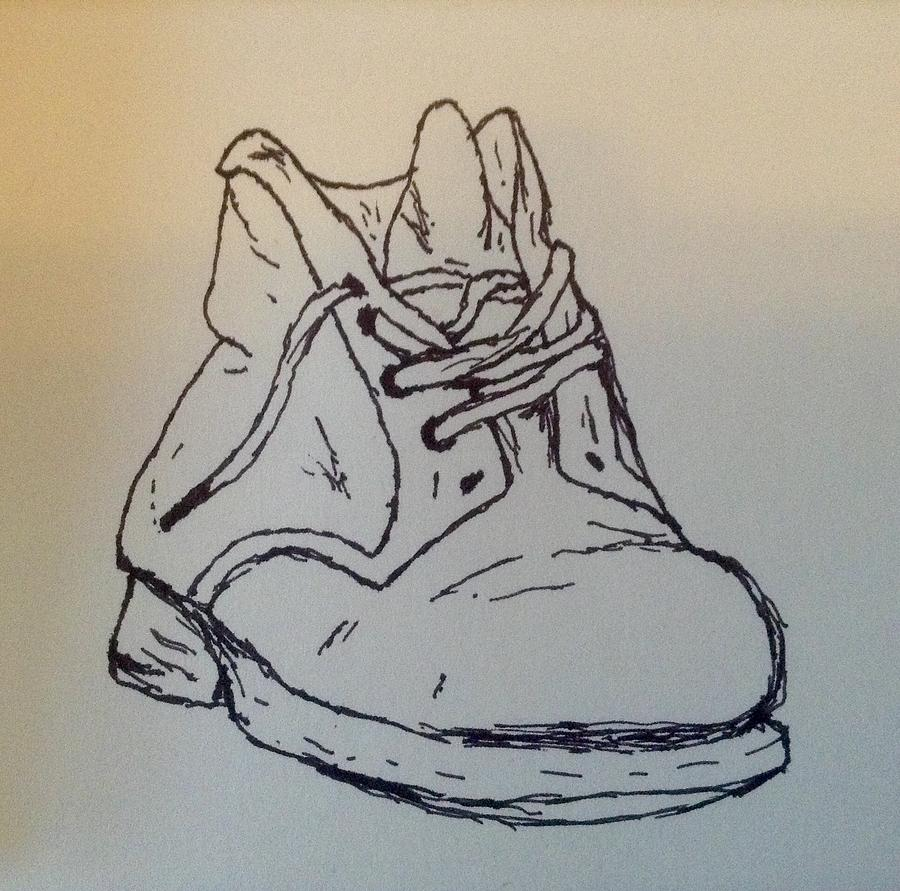 900x891 Old Shoe Drawing By Nicole Porter
