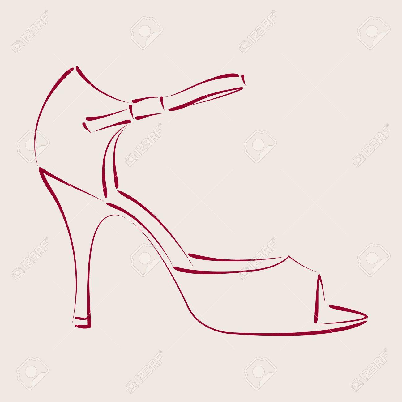 1300x1300 Elegant Sketched Woman S Shoe. Argentine Tango Dance Shoes