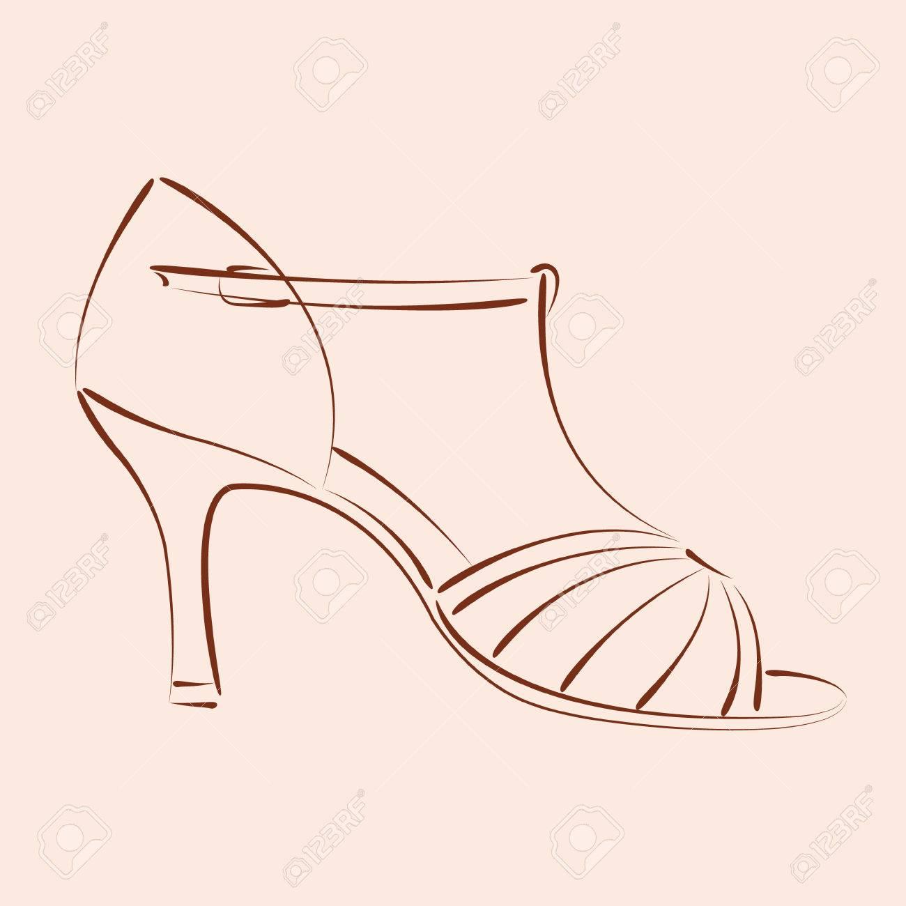 1300x1300 Elegant Sketched Woman S Shoe. Salsa Dance Shoes. Background