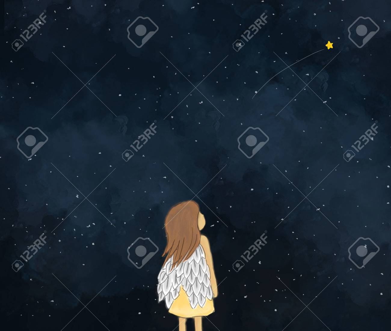 1300x1101 Illustration Drawing Of A Little Girl Angel Looking At Shooting