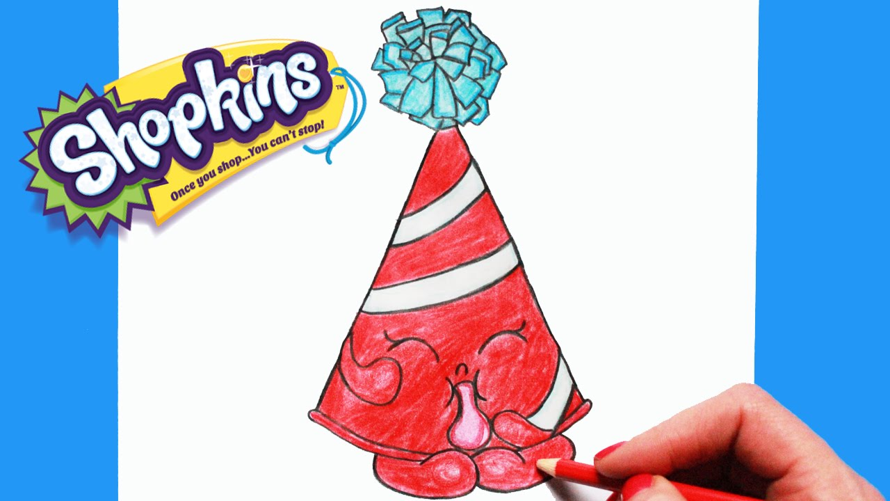 1280x720 How To Draw Shopkins Season 4 Marty Party Hat Step By Step Easy