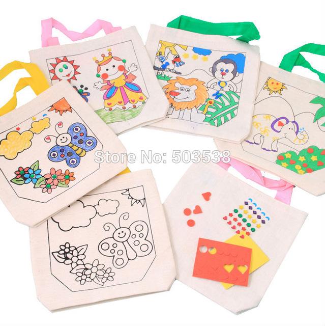 639x640 4pcslot.4 Design Cartoon Unfinished Canvas Bag,shopping Bag