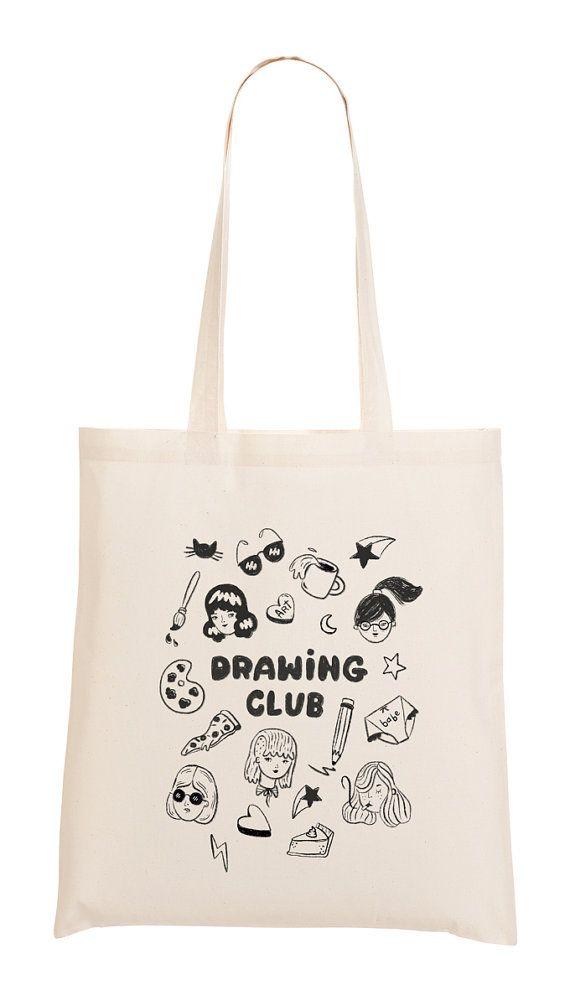 570x990 Drawing Club Tote Bag By Melissachaib On Etsy, $15.00 Ka Pao
