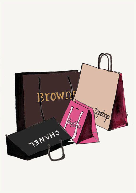 570x807 Fashion Illustration Print, Chanel And Designer Shopping Bags