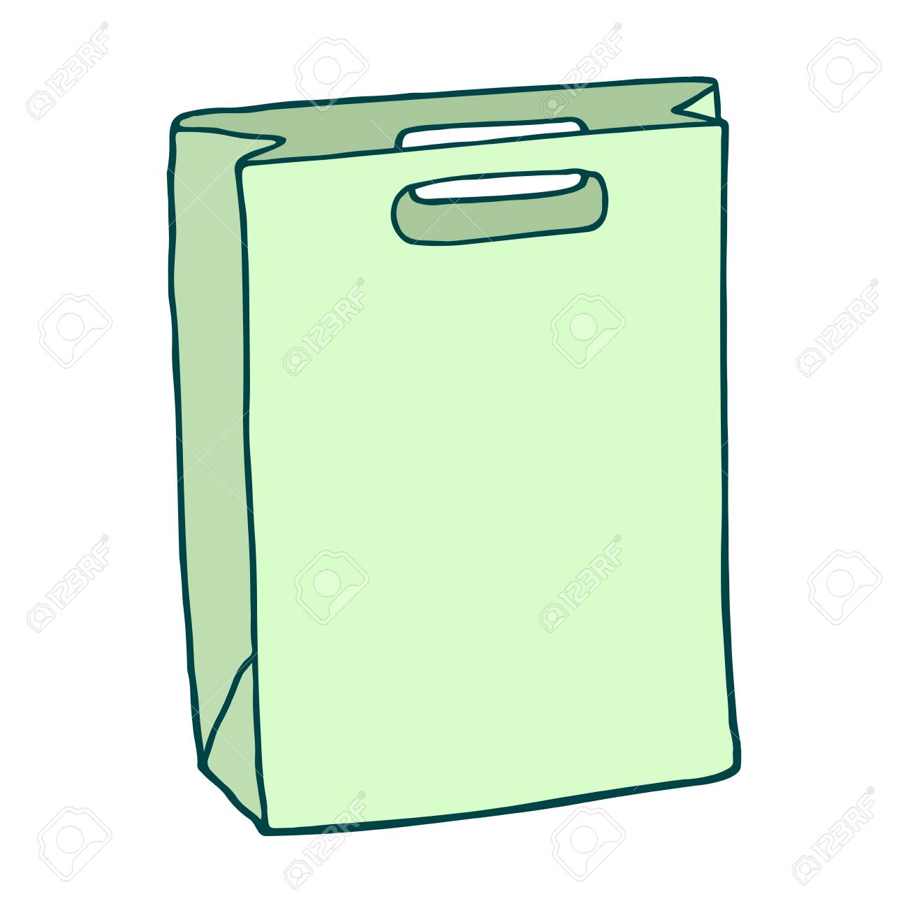 1300x1300 Green Rectangle Shopping Bag. Vector Drawing. Isolated Object