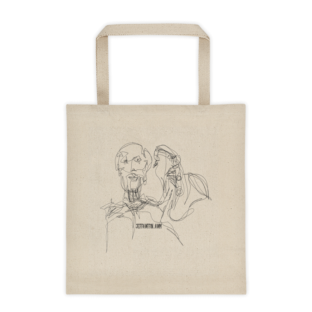 1000x1000 Jc Selfie Line Drawing 12 Oz Cotton Canvas Tote Bag Jeff Coffin