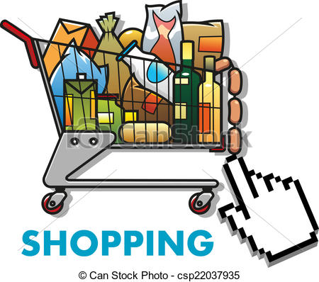 450x398 Shopping Cart With Groceries. Colorful Cartoon Shopping Cart
